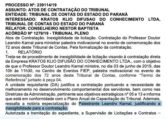 Tribunal De Contas Do Paraná Paga R 45 Mil Por Palestra De